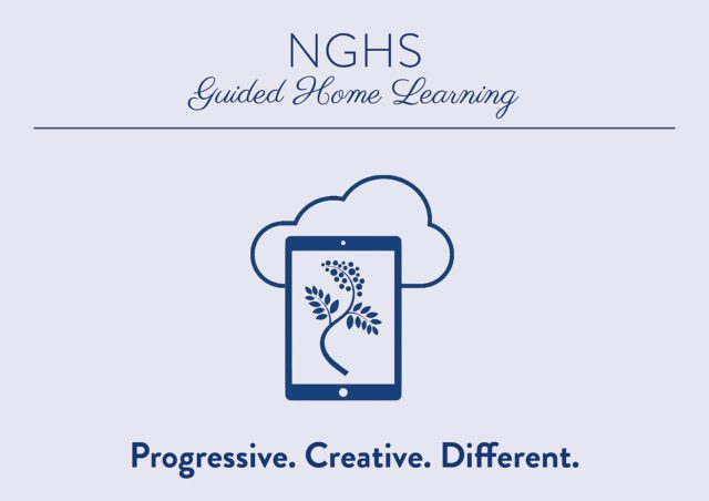 """NGHS - Artwork """"Guided home learning. Progressive. Creative. Different."""""""