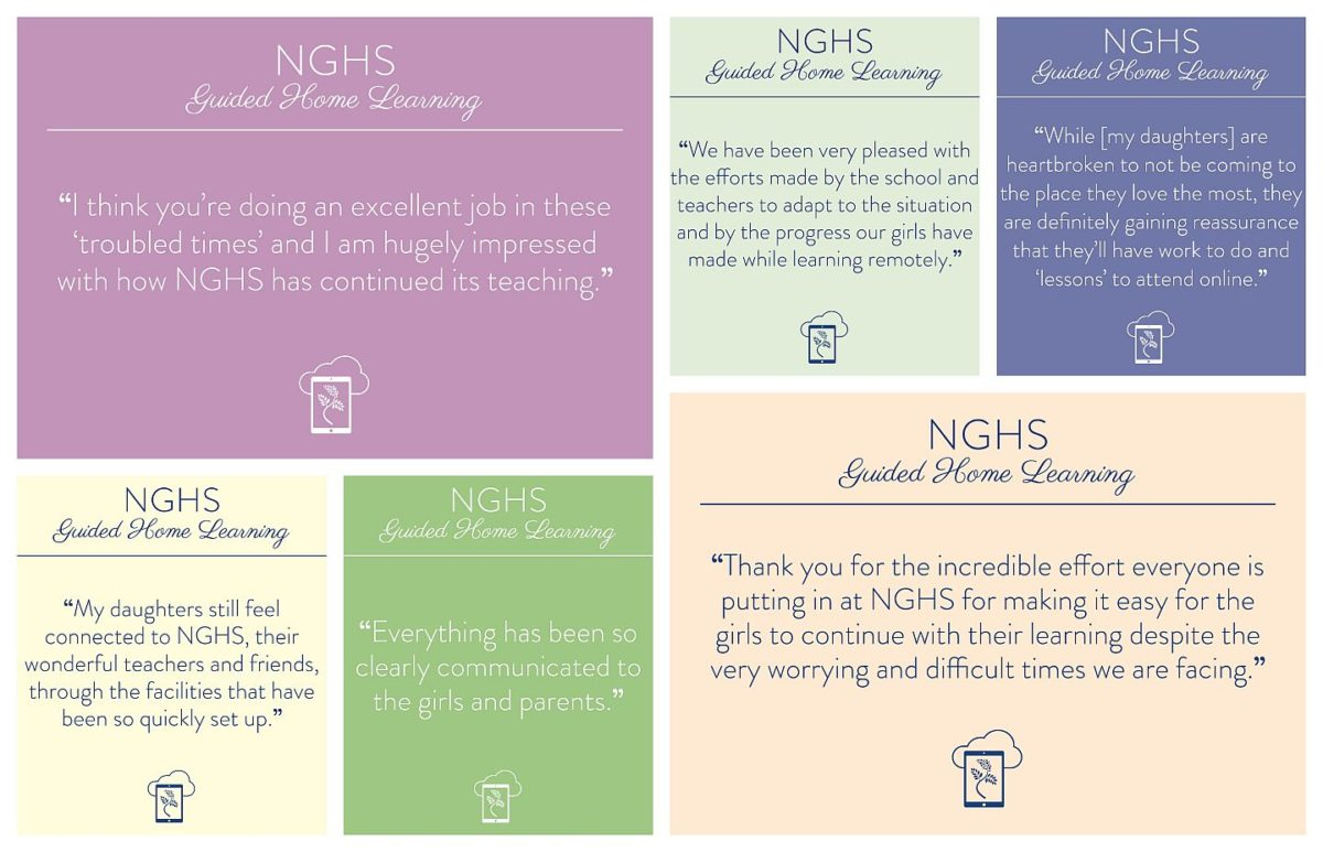 NGHS - various positive guided home learning quotes on soft coloured backgrounds.