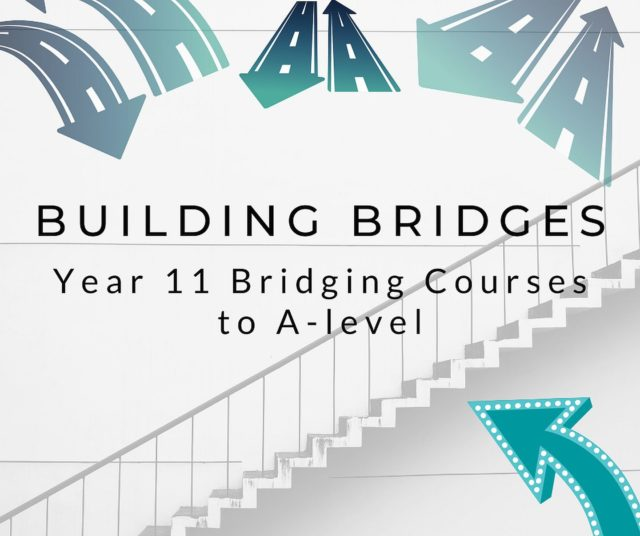 """Illustrated artwork with roads in the shape of arrows. """"Building bridges year 11 bridging courses to A-level."""""""