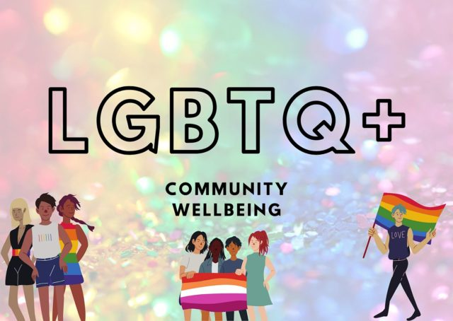 LGBTQ+ well being for the community artwork with glitter background and illustrations of people with rainbow flag